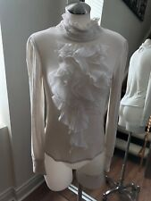LOVESTITCH Beige Collar Front Ruffle Top Blouse Size M Retail $150