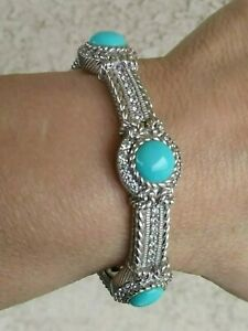 "Judith Ripka Turquoise Cabochons Cuff Bracelet 6.5"" Wrist Heavy Sterling 43.8 g"
