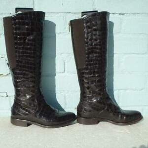 Hobbs Patent Leather Boots Size UK 3 Eur 36 Womens Elasticated Croc Brown Boots