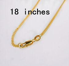 "18"" 1PCS Wholesale  Jewelry 18K Gold Filled Flat Curb Necklaces Chains Pendants"