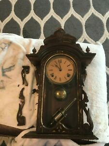RARE Old  Antique E N  Welch Walnut Parlor Shelf Mantle Clock 1870 Broadway type