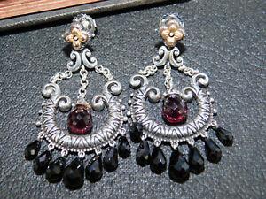 Barbara Bixby 925 Sterling & 18K Multi-Gemstone Chandelier Dangle Earrings