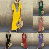 Women Short Sleeve Boho  Loose Floral Kaftan Casual Maxi Dress Ladies Long Dress