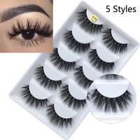 5 Pairs 3D Mink Hair False Eyelashes Thick Crisscross Eye Lashes Wispy Extension