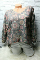Italy Pullover Shirt Vintage Gr.36 38 40 Flower Paisley blogger taupe