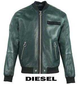 "Diesel Men's Leather Jacket Bomber Coat ""L-PINS"" Khaki Coat Brand New RRP £600.0"