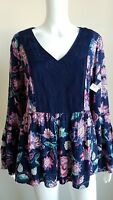 NEW New Directions Floral Top Blouse Blue Pink Embroidered Bell Women's Medium M
