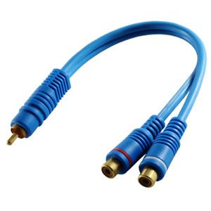 Y Kabel Adapter Verteiler Weiche Subwooferkabel Cinch Chinch RCA Kabel 20cm blau