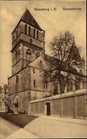 Strassburg im Elsass alte Ansichtskarte ~1910 Straßenpartie an der Thomas Kirche