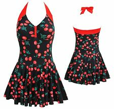 Womens Swimwear Ladies Spa Cherry Swimsuit One Piece Beach Swimdress UK sz 10-18