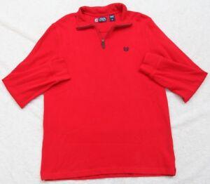 Ralph Lauren Sweater Half Zip Medium Long Sleeve Red Cotton Top Chaps Men's Mans