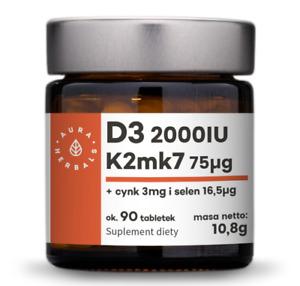 Aura Herbals Vitamin D3 2000 IU + K2MK7 + Zinc + Selenium 90 tablets, FREE P&P