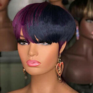 Women Short Straight Synthetic Pixie Black Purple Hair Wigs Fashion Bangs Party