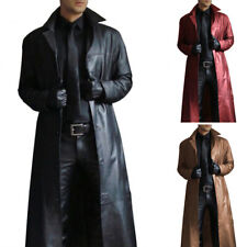 Mens PU Leather Punk Trench Coat Long Sleeve Motorcycle Outwear Overcoat Jacket