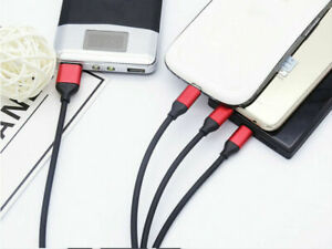 UK 3 in 1 Multi USB Phone Charger Charging Sync Cable For iPhone Android &Type C