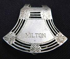 "Engraved ""Milton"" Clip Designer W Sterling Silver"