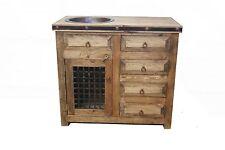 """Rustic Reclaimed Wood  Bathroom Vanity 36"""" wide Copper Sink"""