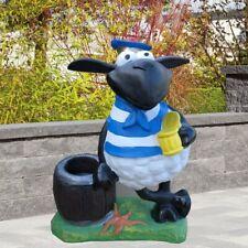 Deko Figur Schaf Molly mit Bierglas und Blumentopf zum Bepflanzen Garten Deko
