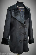 CHAPS black car coat faux fur suede long jacket winter warm frog claw SIZE M NEW