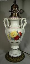 Antique Meissen Porcelain Lamp Snake Handled Vase With Flowers