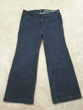 NY&C Low Rise Wide Leg BLACK JEANS Flare Trousers Women's Sz 12 Petite