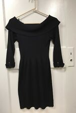 WHITE HOUSE BLACK MARKET 3/4 SLEEVE SWEATER DRESS SIZE S, BLACK