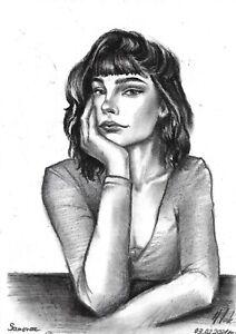 original drawing A5 97LN art by samovar Charcoal female portrait Signed 2021