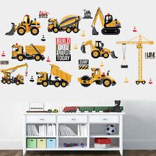 Truck Excavator Vehicles Wall Decals Baby Boy Nursery Kids Room Wall Stickers