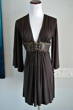 Sky Brand XS Dark Brown Rayon/Spandex Jersey Leather Belt Kimono Sleeve Dress