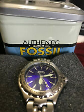 Fossil  Mens Watch Stainless Silver Steel 50m Water Resist Batt White Quartz