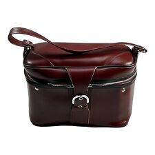 Vintage Patent Vinyl Leather Makeup Cosmetic Train Case Luggage With Lock Keys