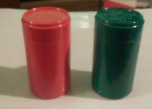 Set of plastic 12 oz Test Cans - Green (go), Red (no go) Used at Pepsi