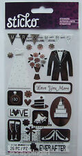 ~LOVE YOU MORE~ Sticko Stickers EK Success; WEDDING, Bride, Groom, Mr. & Mrs.