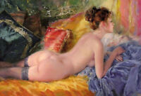 ZOPT563 nude girl&necklace Lying on the bed hand painted oil painting art canvas