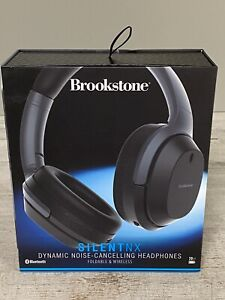 Brookstone SilentNX Dynamic Noise Cancelling Wireless Headphones Black New
