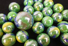 25 Glass Marbles PEACOCK iridescent Green Blue Yellow Game Pack Shooter Swirl