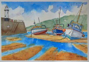 An original watercolour painting of Boats at St Ives, Cornwall.