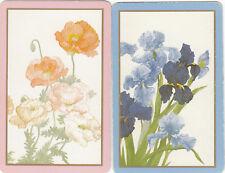 #68 2 (pair) vintage single playing swap cards - Flowers   - JS