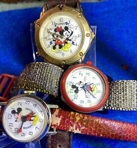 3 VINTAGE DISNEY MICKEY MINNIE  MOUSE Watches - SWISS & Lorus Original Leather