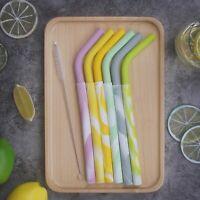 Silicone Reusable Straws EXTRA WIDE Smoothie Milkshake 2 PIECE ANGLED plus Brush