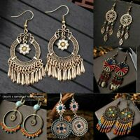 Women Vintage Boho Tassel Chandelier Dangle Hook Earrings Gypsy Bohemian Jewelry