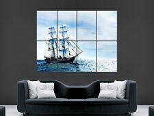 POSTER Barca a vela mare le onde dell'oceano NATURA Nave Pirata Grande Muro Gigante Foto