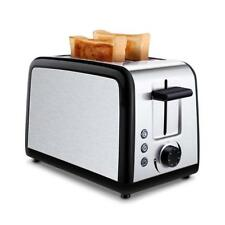 Black 2 Slice Toaster Stainless Steel Automatic Pop Up Wide Slots Tobox New Usa