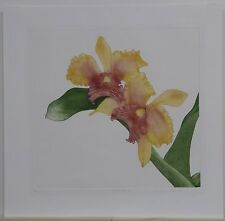 Beautiful Colored Etching of Orchids by Elaine Simel, 1983