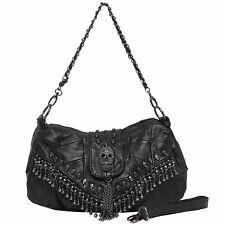 MG Collection Parkin Skull Studded Fringe Beads Lambskin Leather Purse Black NEW