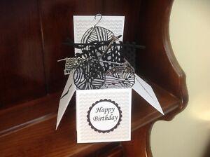 Handmade Knitting themed birthday pop up card