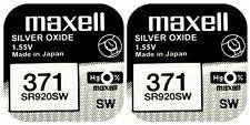2 x Maxell 371 Pila Batteria Orologio Mercury Free Silver Oxide SR920SW 1.55V