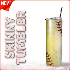 Baseball Yellow & White-2 ( Dirty-4 ) 20oz Skinny Tumbler