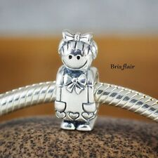 Genuine SOLID 925 Sterling Silver charm bead girl daughter love fits bracelet SS