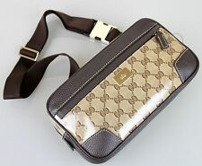 New Authentic GUCCI Crystal GG Belt Bag, Brown, 336672 9790